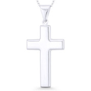Hollow-Cast Latin Cross Christian Crucifix Pendant w/ Chain Necklace in .925 Sterling Silver - ST-CP034-SLP