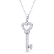 Heart Bow Key CZ Crystal Love Charm Pendant & Chain Necklace in .925 Sterling Silver - ST-FP088-DiaCZ-SLP