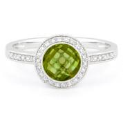 1.49ct Checkerboard Peridot & Round Cut Diamond Pave Halo-Design Ring in 14k White Gold