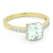 1.46ct Cushion Cut Green Amethyst & Round Cut Diamond Engagement / Promise Ring in 14k Yellow Gold