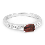 0.74ct Baguette Cut Garnet & Round Diamond Promise Ring in 14k White Gold