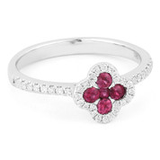 0.43ct Ruby & Diamond Pave Right-Hand Flower Ring in 14k White Gold