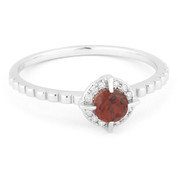 0.39ct Round Brilliant Cut Garnet & Diamond Halo Promise Ring in 14k White Gold