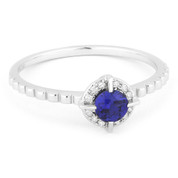 0.34ct Round Brililant Cut Lab-Created Blue Sapphire & Diamond Halo Promise Ring in 14k White Gold