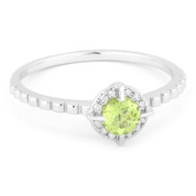 0.31ct Round Brilliant Cut Green Peridot & Diamond Halo Promise Ring in 14k White Gold