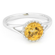 1.36ct Round Brilliant Cut Citrine & Diamond Halo Promise Ring in 14k White Gold