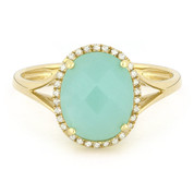 2.81ct Checkerboard Cut Amazonite & Round Diamond Oval Halo Right-Hand Ring in 14k Yellow Gold