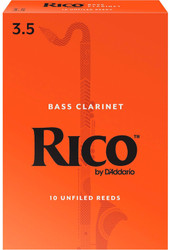 Rico Bass Clarinet Reeds, Strength 3.5, 10-pack