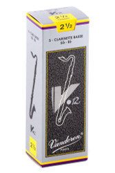 Vandoren CR6225 Bass Clarinet V.12 Reeds Strength 2.5; Box of 5