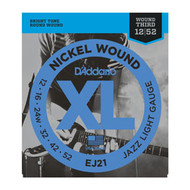 D'Addario Nickel Wound Electric 12-52 Jazz Light (EJ21) Packaging Front