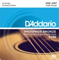 D'Addario EJ38 12-String Phosphor Bronze Acoustic Guitar Strings, Light, 10-4