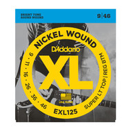D'Addario Nickel Wound Electric 09-46 Super Light Top/ Regular Bottom (EXL125) Packaging Front