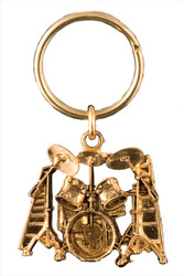 Drumset Key Chain - 24k Gold Plate