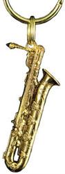 Harmony Jewelry Baritone Sax Key Chain - 24k Gold Plated (FPK577G)