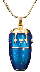 Harmony Jewelry Conga Drum Necklace Gold and Blue (FPN579GBU)