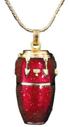 Harmony Jewelry Conga Drum Necklace Red and Gold (FPN579GRD)