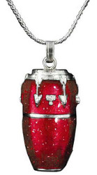 Harmony Jewelry Conga Drum Necklace Red and Silver (FPN579SRD)