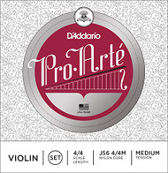 D'Addario J56 4/4M Pro-Arte Nylon violin Strings, Medium (J56 4/4M)