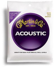 Martin M175 80/20 Acoustic Guitar Strings, Custom Light
