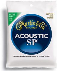 Martin MSP3000 SP 80/20 Bronze Acoustic Guitar Strings, Extra Ligh