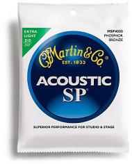 Martin MSP4000 SP Phosphor Bronze Acoustic Guitar Strings, Extra Ligh