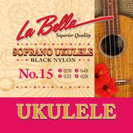 LaBella Ukulele Strings No. 15 Soprano Black Nylon (U15)