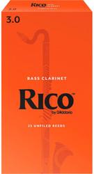 Rico Bass Clarinet Reeds 25-Pack #3.0 (4A3)