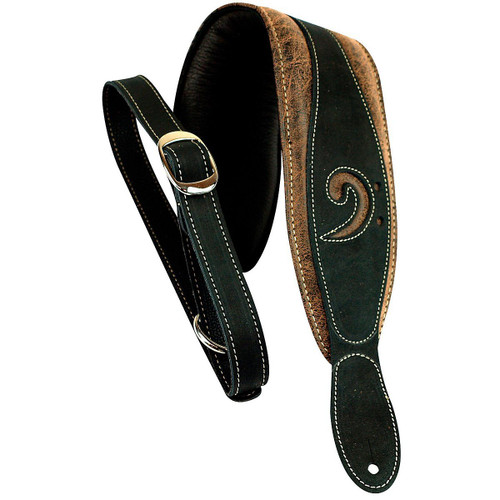 """LM Products 3"""" Leather Bass Clef Padded Guitar Strap Blac"""