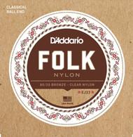 D'Addario EJ33 Folk Nylon Guitar Strings, Ball End, 80/20 Bronze/Clear Nylon ..