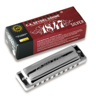 Seydel Blues 1847 Silver - Key of D (16301-D) Harmonica and Packaging