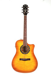 Fender T-Bucket 300Ce Cutaway Acoustic-Electric Guitar, Flamed Maple Top, Honey Burst