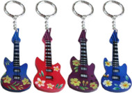 Airbrushed Flower Guitar Keychains, Pack of 12 (8065)