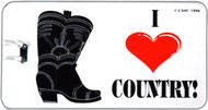 "ID tag for your luggage or instrument case featuring ""I <heart> Country!"""