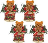 Set of 4 Little Drummer Bear Ornaments