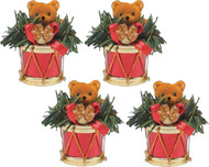 CMC Drum and Little Bear Ornaments Red Set of 4