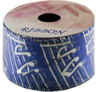 Sheer Wired Ribbon, Silver Notes on Blue, Pack of 12 (9699)