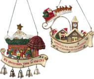 Kurt Adler Christmas Village Scene Ornaments Set of Two