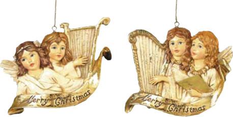 Kurt Adler Winged Angels Playing Golden Harp Ornaments Set of 2