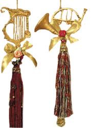 Kurt Adler Golden Instrument Ornaments with Tassels Set of 2