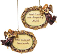 Kurt Adler Angel Ornaments with Sayings About Music - Assorted set of 2