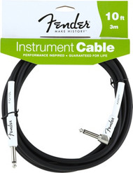 10' Fender Performance Series Cables Right-Angle Instrument Cable - Black