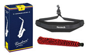 Vandoren Alto Saxophone Reeds #3 - 10 Pack, Neotech Sax Strap, and H.W. Alto ..