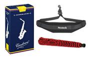 Vandoren Alto Saxophone Reeds #2.5 - 10 Pack, Neotech Sax Strap, and H.W. Alt..