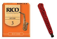 Rico Alto Saxophone Reeds #3 - 10 Pack and H.W. Alto Sax Pad-Save