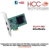 CL311-MN PCIe - Entradas HDMI Componentes Compuesto S-Video - Full HD 60fps -  Compresión por Hardware - Línea Profesional SDK [AVerMedia]