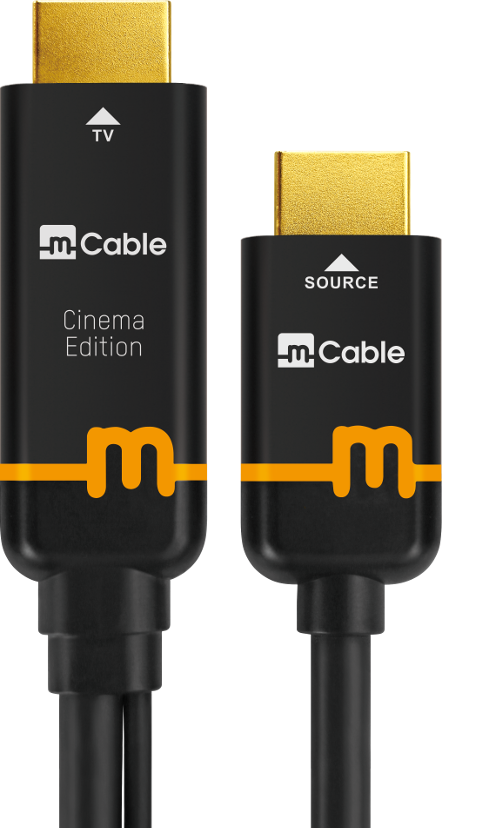 Image of mCable,smart HDMI cable, cinema edition with source input and TV output ends with orange colored band