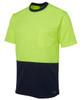 Hi Vis Traditonal T-Shirt 6HVT. Angled view. Lime/Navy.