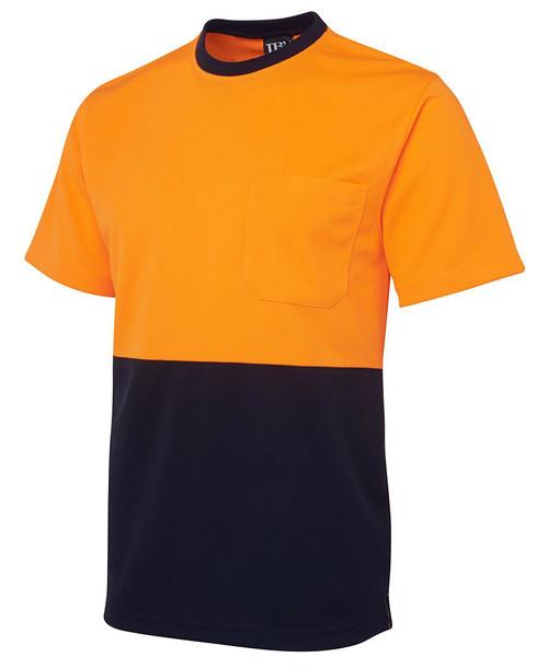 Hi Vis Traditonal T-Shirt 6HVT. Angled view. Orange/Navy.