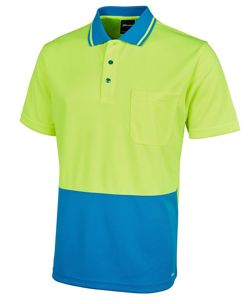 Hi Vis Non Cuff Traditional Polo 6HVNC. Angled view. Lime/Aqua.
