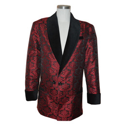"Wine brocade smoking jacket with bemberg lining.  Black velvet cuff and collar.  Adjustable 3"" cuff to lengthen or shorten."